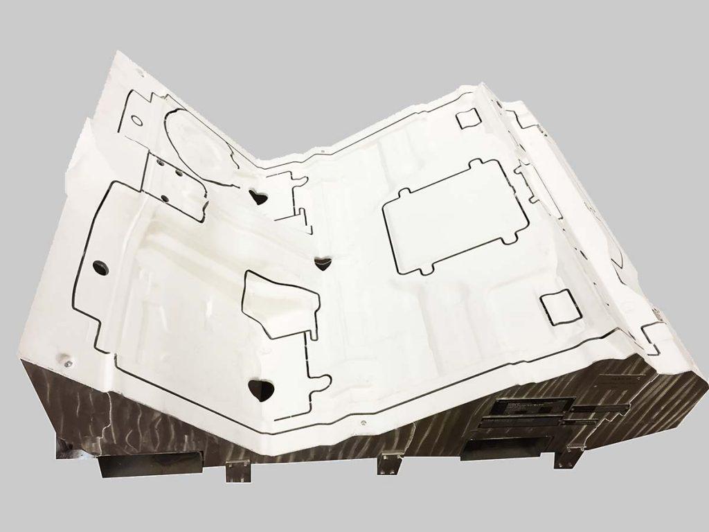 Support découpe jet d'eau insonorisation tapis habitacle